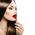 Beautiful sexy model applying red lipstick - PhotoDune Item for Sale