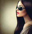 Beauty model girl with long brown hair wearing sunglasses - PhotoDune Item for Sale