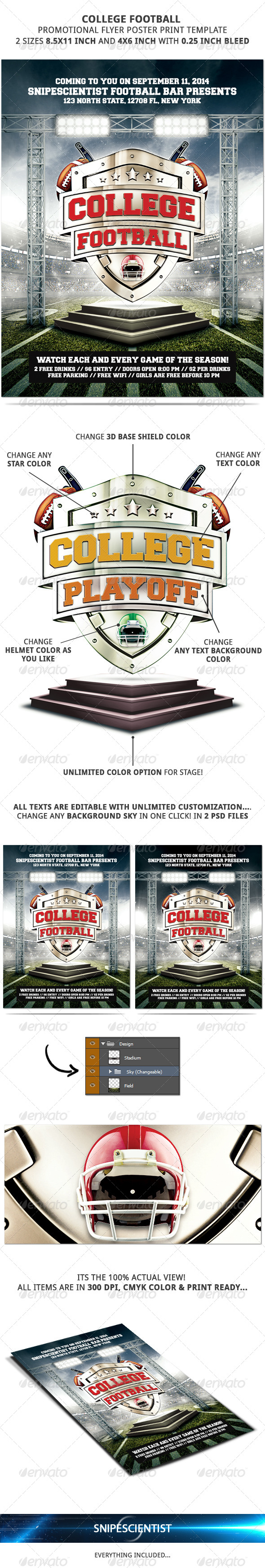 GraphicRiver College Football Flyer Template No Model Needed 8684397
