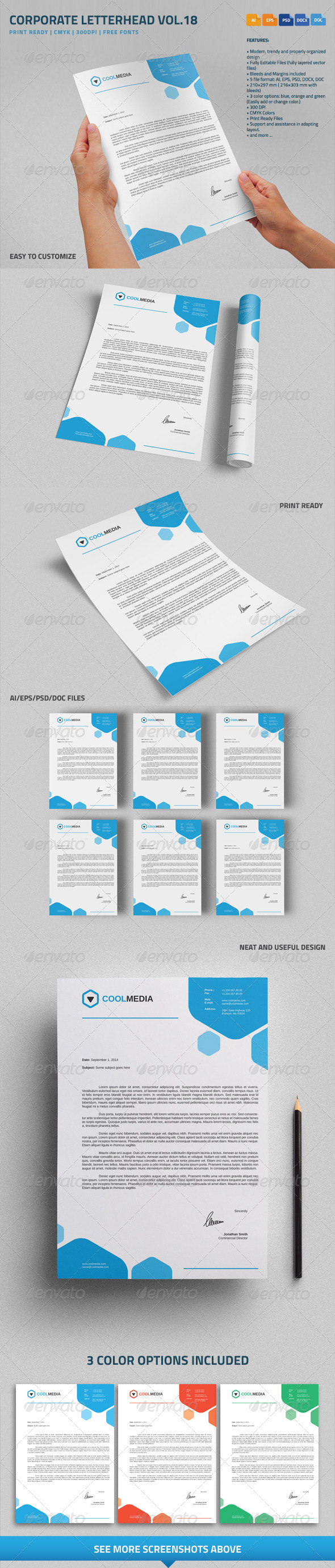 GraphicRiver Corporate Letterhead Vol.18 with MS Word DOC DOCX 8738170