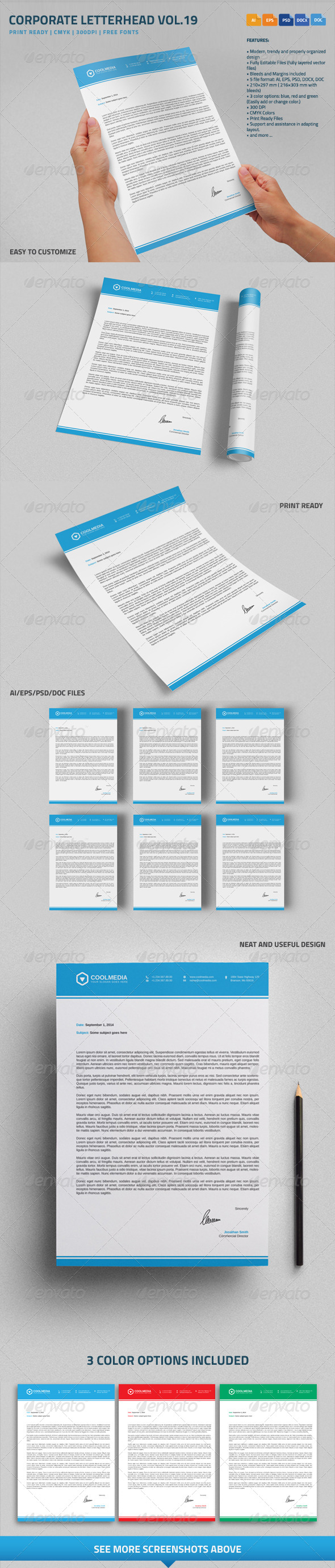 GraphicRiver Corporate Letterhead vol.19 with MS Word DOC DOCX 8738350
