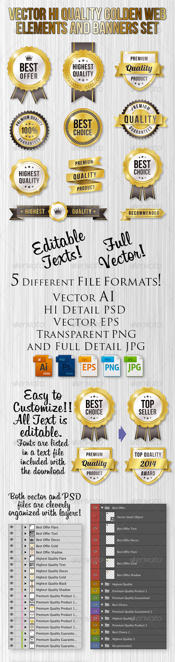 GraphicRiver Golden Vector Web Elements Set 8728106