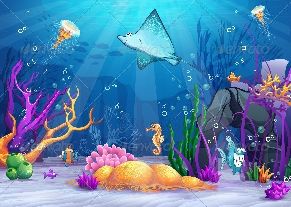 GraphicRiver Illustration of the Underwater World 8739001