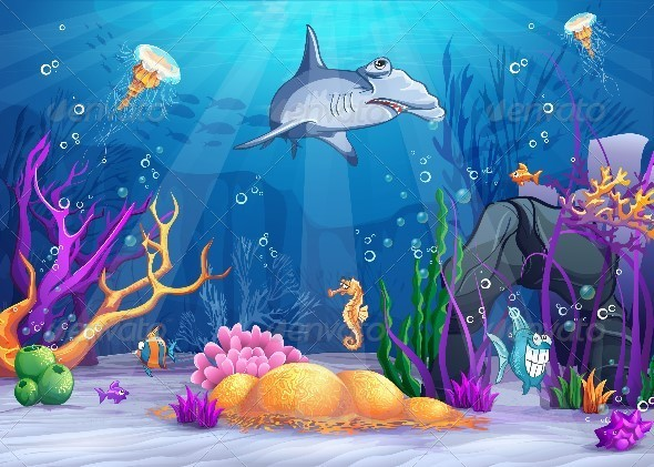 GraphicRiver Illustration of the Underwater World 8739030