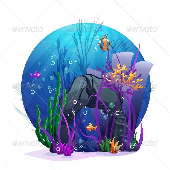 GraphicRiver Illustration of Underwater Rocks with Seaweed 8739037