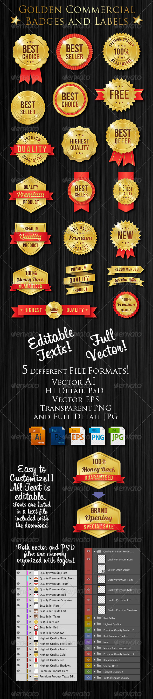 GraphicRiver Vector Golden Commercial Label Set 8720817