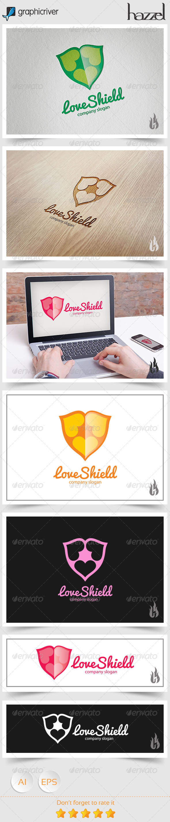 GraphicRiver Love Shield Logo 8739218