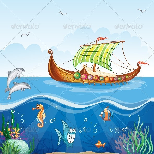 GraphicRiver Water World with Viking Ship 8739231