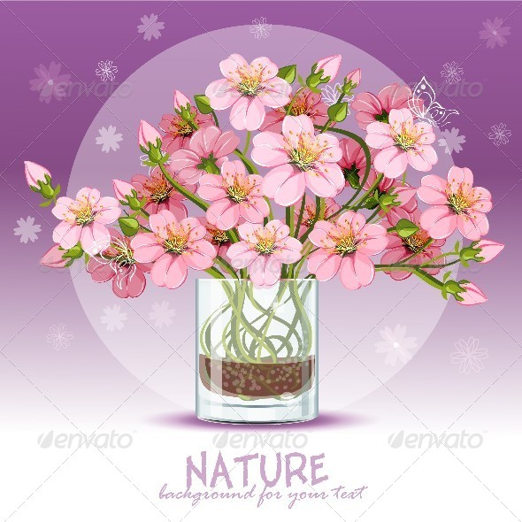 GraphicRiver Background with Cherry Blossom in a Glass 8739284