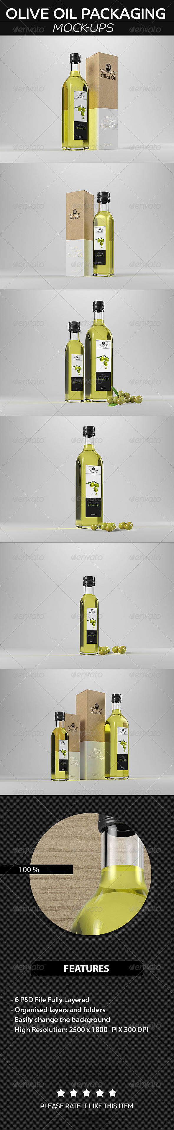 GraphicRiver Olive Oil Packaging Mockup 8739289