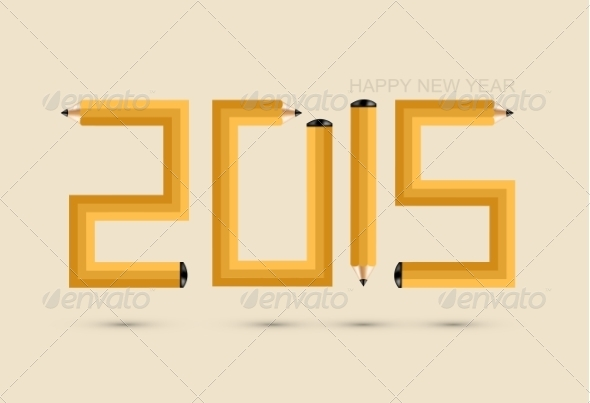 GraphicRiver Pencil New Year Background 8739291