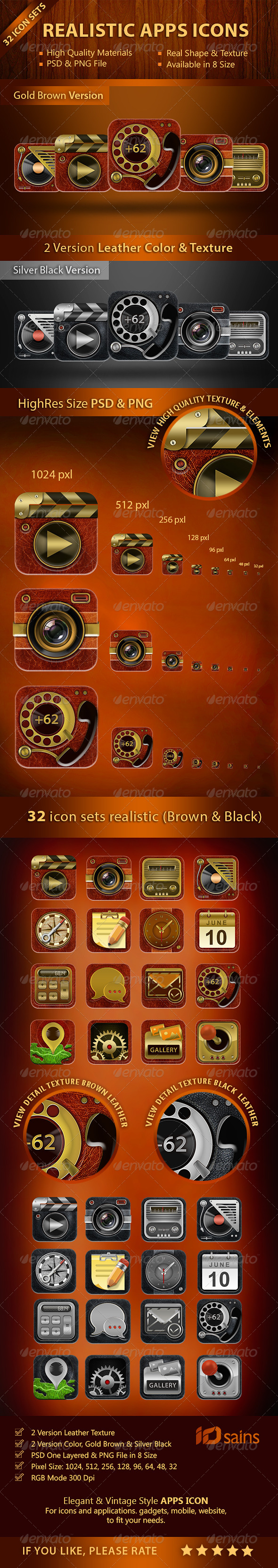 GraphicRiver 32 Realistic Apps Icons 8739516