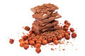 Chocolate and nuts on white background. - PhotoDune Item for Sale
