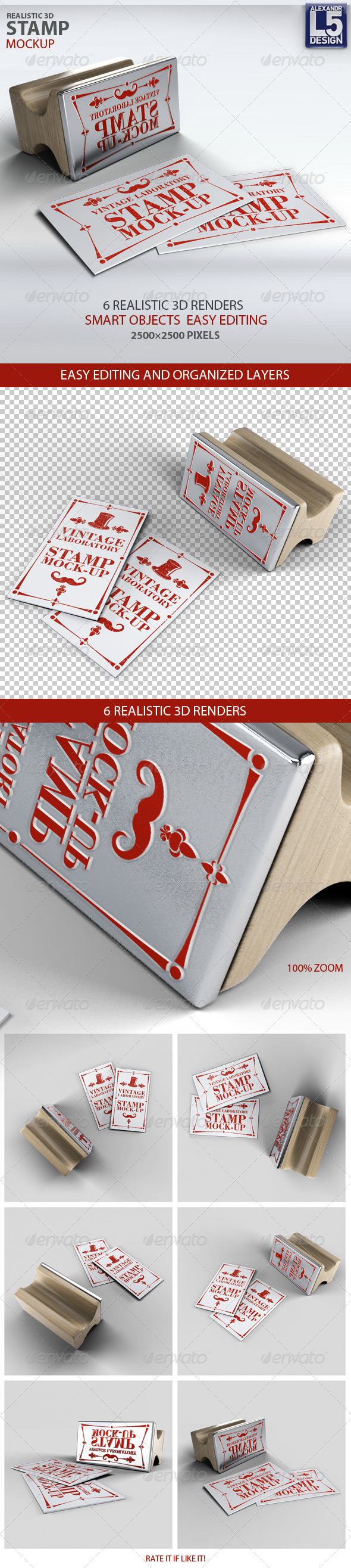 GraphicRiver Stamp Business Card Mock-Up 8739837