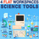 Science Workspace Devices in Flat Design - GraphicRiver Item for Sale