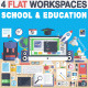 School & Education Flat Design Workspace - GraphicRiver Item for Sale