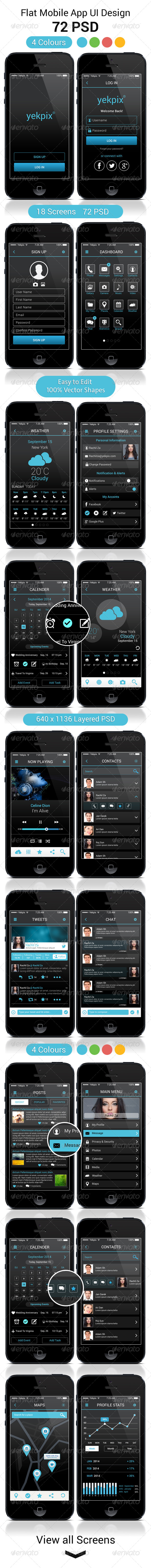 GraphicRiver YekPix Flat Mobile App UI User Interfaces PSD 8714867