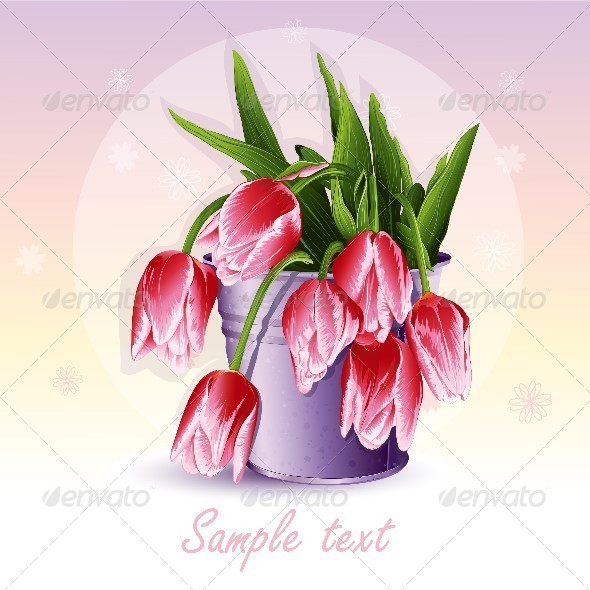 GraphicRiver Red Tulips in a Bucket 8740124