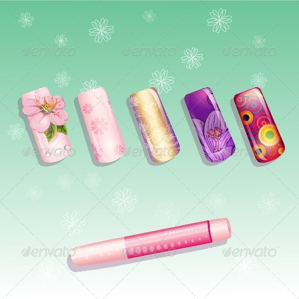 GraphicRiver Set of Fake Nails and a Bottle of Glue 8740163