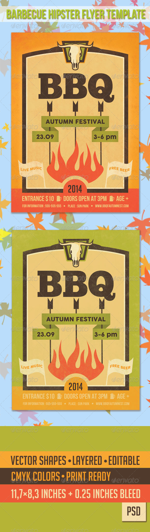 GraphicRiver Barbecue Hipster Flyer Template 8716327