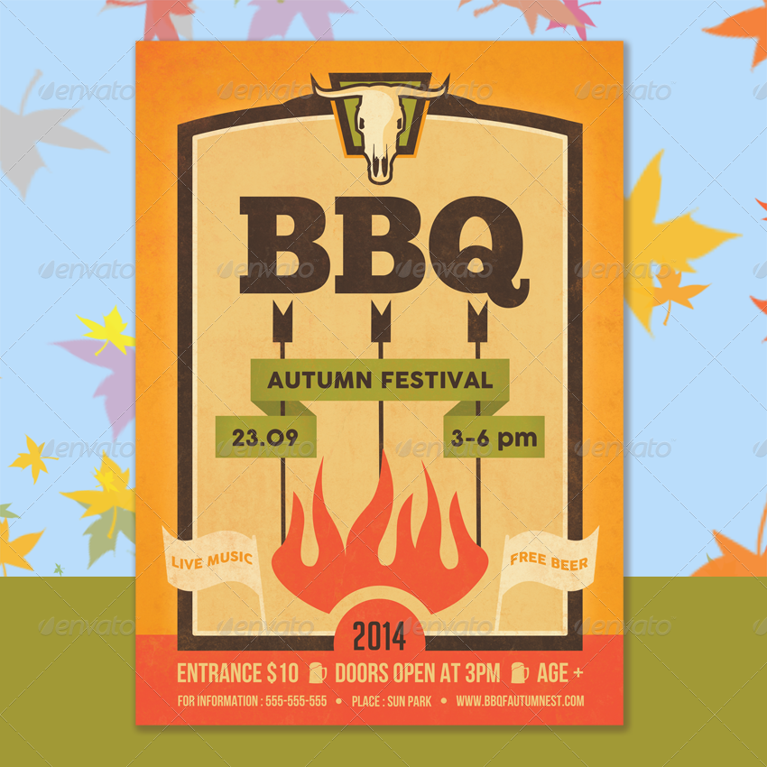 Barbecue Hipster Flyer Template by ragerabbit   GraphicRiver