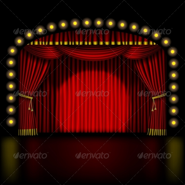 GraphicRiver Stage with Red Curtain 8740418