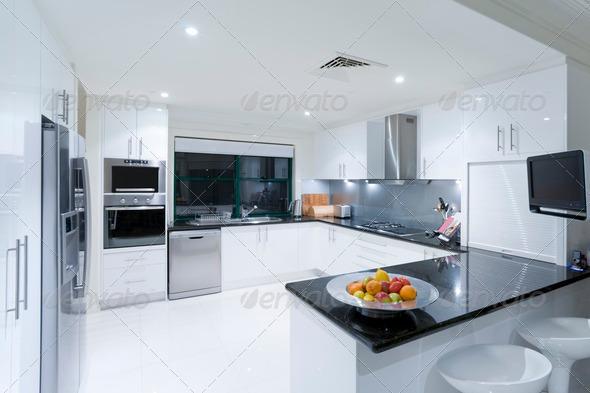 Modern kitchen in luxury mansion - Stock Photo - Images