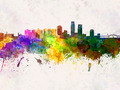 Corpus Christi skyline in watercolor background - PhotoDune Item for Sale