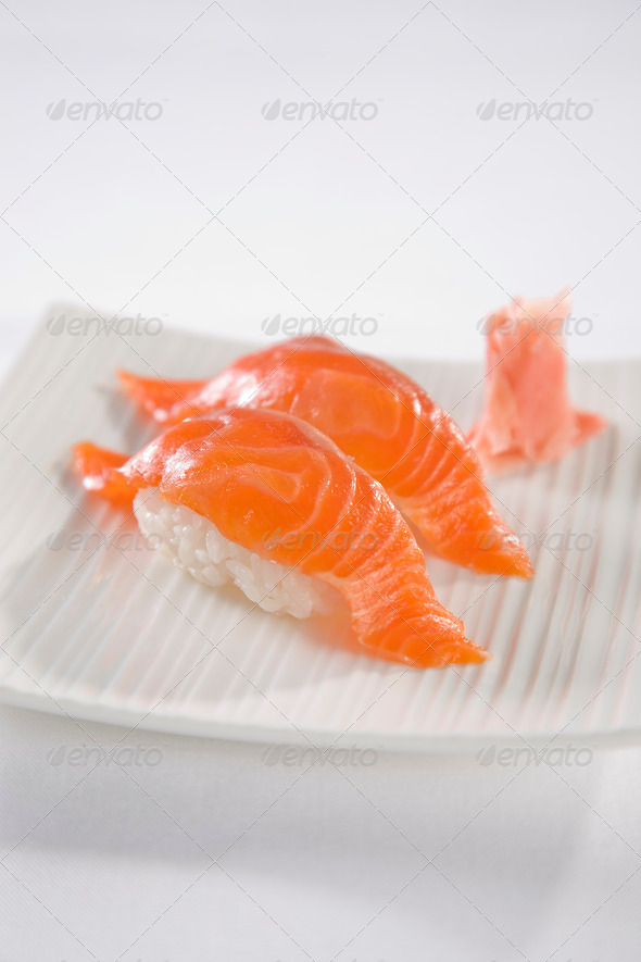 Salmon Sushi plate - Stock Photo - Images