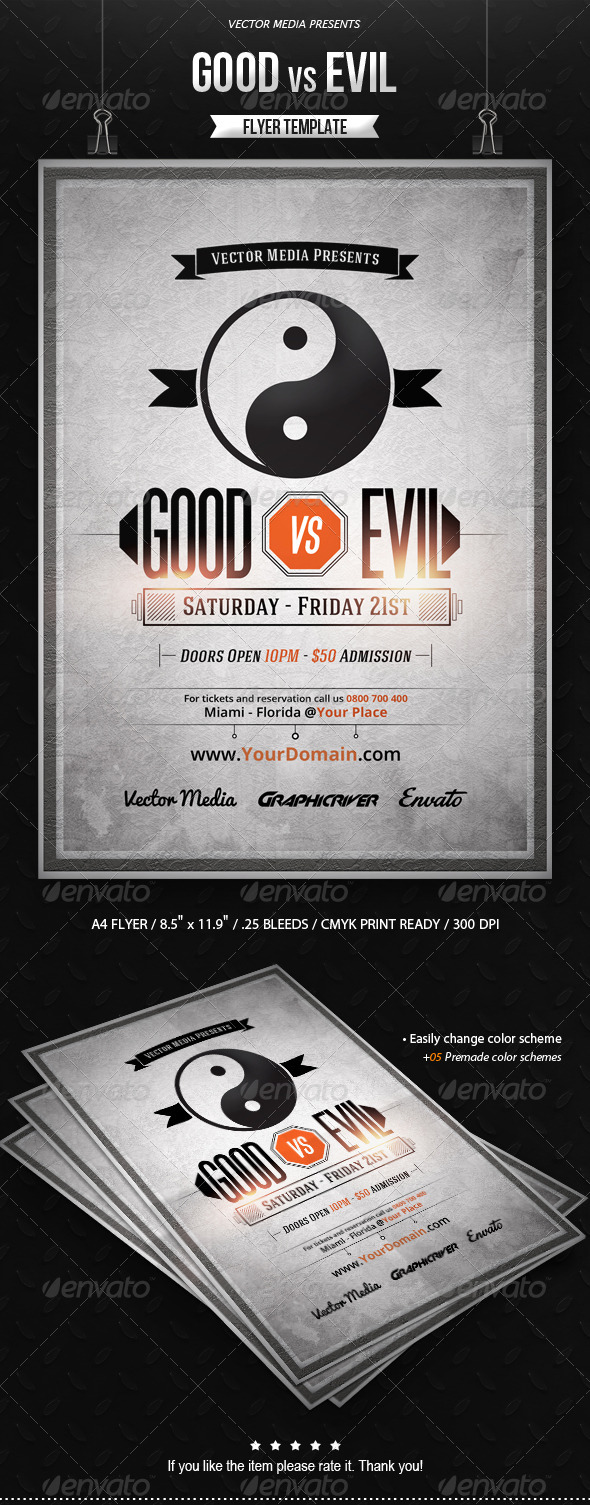 GraphicRiver Good vs Evil Flyer 8741011