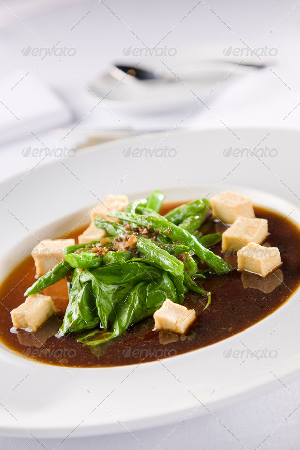 Asian soup with tofu - Stock Photo - Images