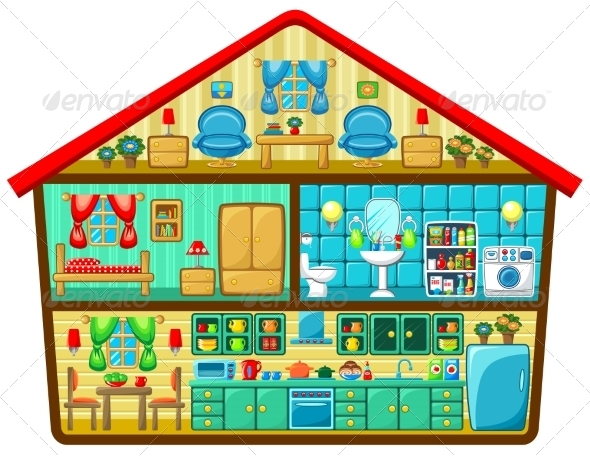 GraphicRiver Cartoon House in a Cut 8741302