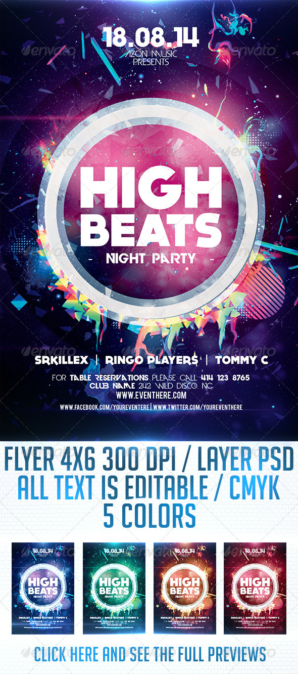 GraphicRiver High Beats Flyer Template 8713410