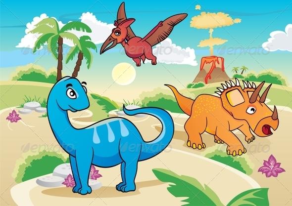 GraphicRiver Cartoon Dinosaurs 8741381