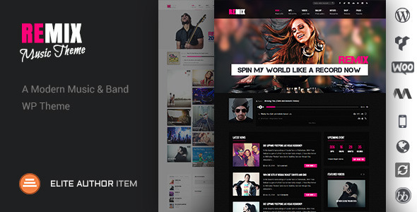Remix - Music Band Club Party Event WP Theme - Music and Bands Entertainment