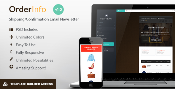 OrderInfo - Order / Shipping Mail + Builder Editor Access - Newsletters Email Templates