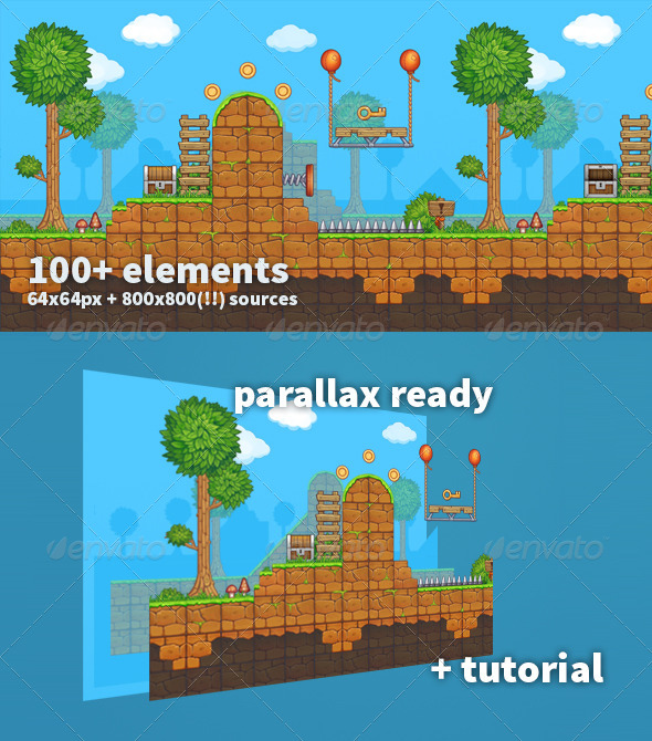 GraphicRiver Painterly Platformer Pack 8741662