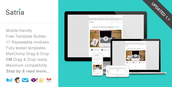 Satria, Responsive Email with Template Builder - Email Templates Marketing