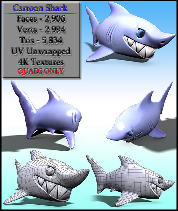 3DOcean Cartoon Shark 8742652