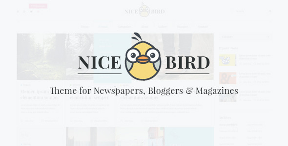 Nice Bird is purpose oriented clean PSD Template. It is highly suitable for Newspapers, Bloggers and Magazines. It comes with quite clean design and cool featur