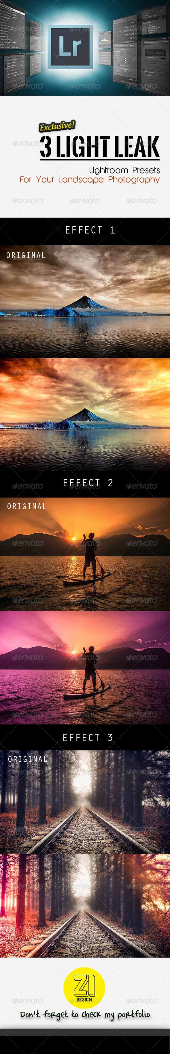 GraphicRiver 3 Light Leak Lightroom Presets 8745127