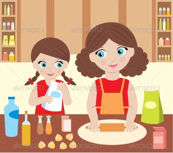 GraphicRiver Mother with Daughter Cooking Dough 8745233