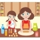 Mother with Daughter Cooking Dough - GraphicRiver Item for Sale