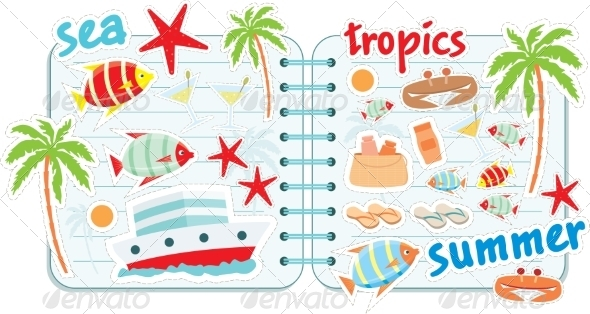 GraphicRiver Scrapbook Elements with Tropics 8745245