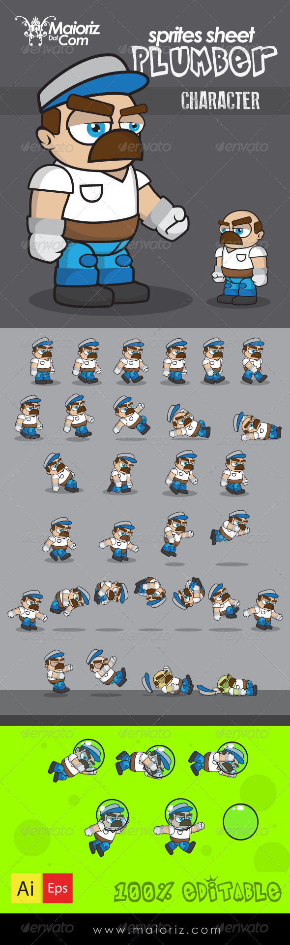 GraphicRiver Plumber Character Sprite Sheet 8745490