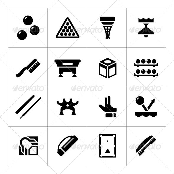 GraphicRiver Set Icons of Billiards Snooker and Pool 8745664