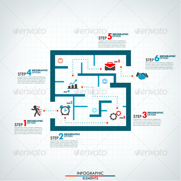 GraphicRiver Infographic Process Template With Labyrinth 8745833