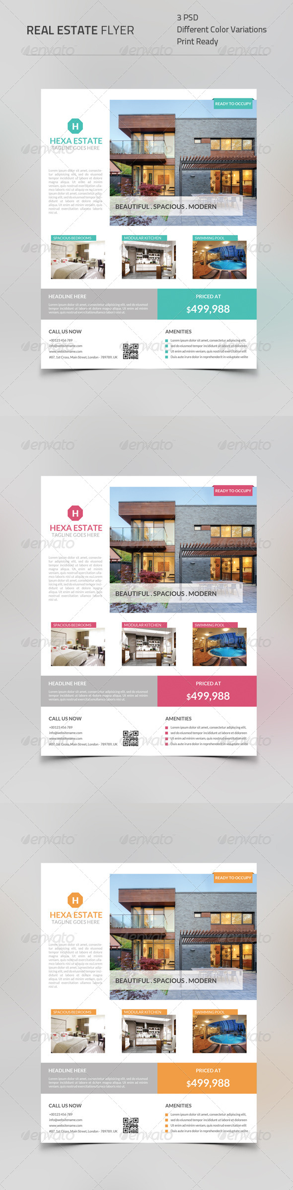 GraphicRiver Real Estate Flyer Flat Style 8745935