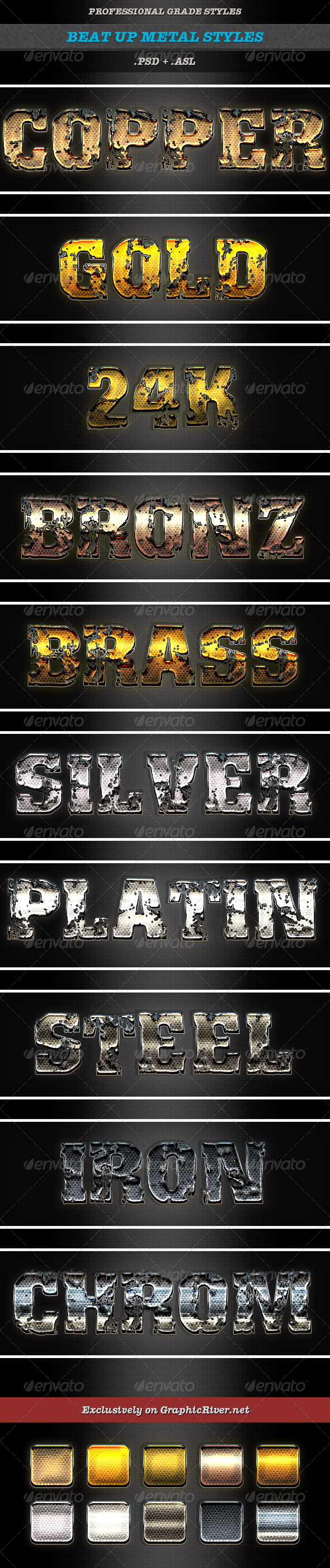 GraphicRiver Beat Up Metal Styles 8745959