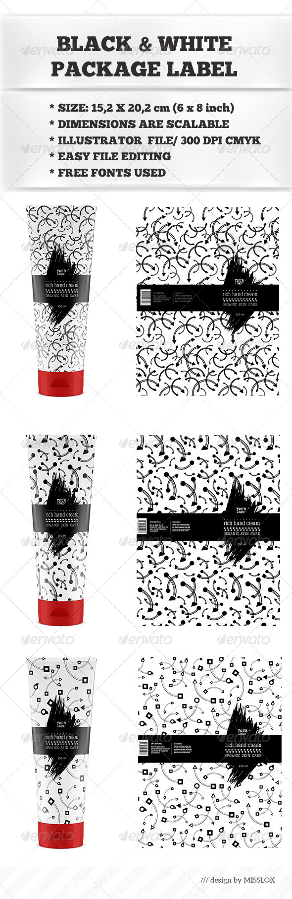GraphicRiver Black & White Package Labels 8729102